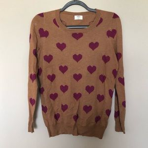 WALLACE Heart Striped Tan Sweater Small